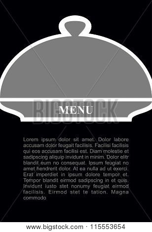 Cover For Hot Dishes. Cloche On Black Background. Template For Menu Of Restaurant And Cafe.