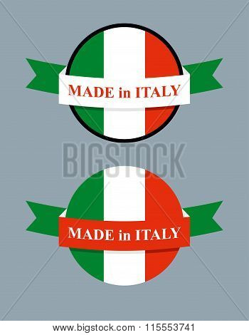 Made In Italy Product Logo. Map Of Italy And Ribbon With Colors Of Italian Flag. Label Template For