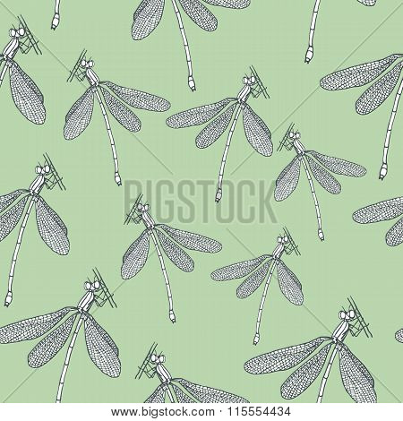 Seamless patternd with dragonflies