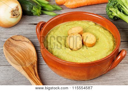 healthy soup garnished with croutons