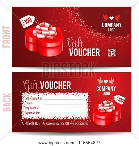 Gift voucher template with luxury red gift box in heart shape. Front and back side design. May be used as gift for Valentines Day or Wedding Day. Vector illustration.