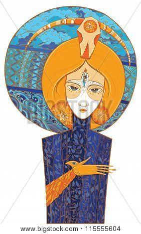 Shaman Goddess Of Birth And Death. Vector Illustration
