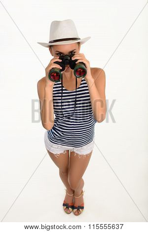 Sailor girl with binocular