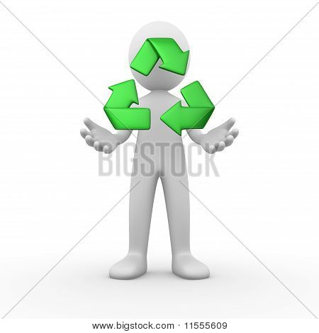 Man with a recycle sign