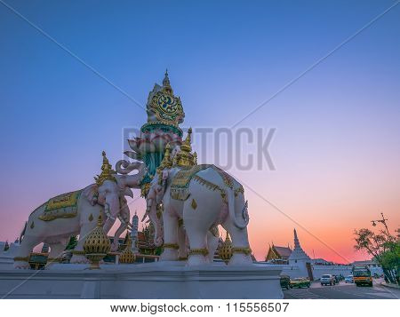 White Elephants Statue In The Sunset Light