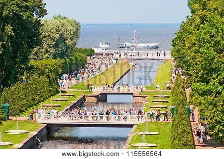 Peterhof. Russia. People near The Sea Canal