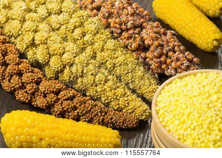 Twigs Of Red And Yellow Millet; Grain Of The Yellow Millet In A Wooden Basket