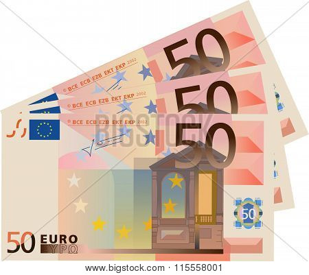 Vector drawing stylized 50 Euro bills