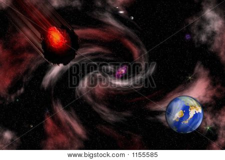 Stock Image Of Space Asteroid Scene