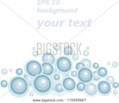 Blue balls below, on a white background, design element, write the text