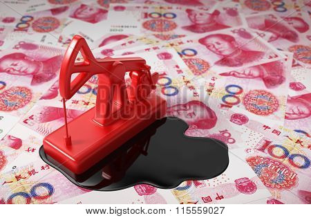 Red Pumpjack And Spilled Oil On Chinese Yuan
