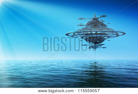 Futuristic Sky Station In Rays Of The Sun