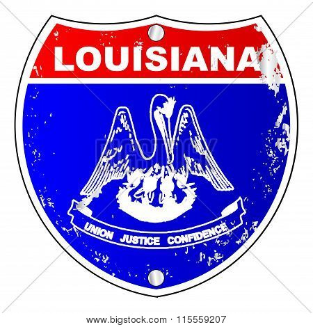 Louisiana Flag Icons As Interstate Sign