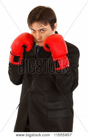Confident young businessman with boxing gloves isolated on white