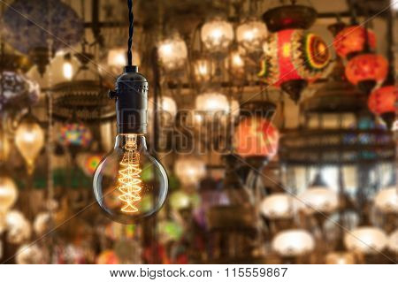 Vintage Incandescent Bulb On Light Equipment Market In Istanbul