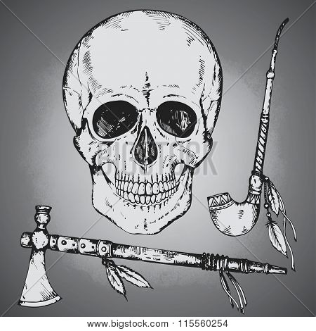 Set Of Hand Drawn Vector Human Skull, Tomahawk And Calumet