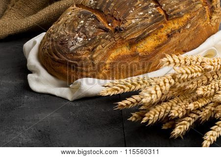 Hand Made Bread Loaf With Wheat Ears