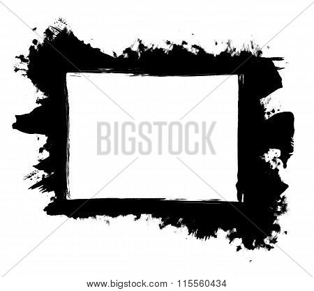 Dirty, Stained Paint Stroke Grunge Rectangle Frame