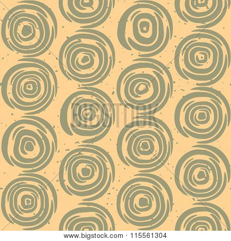 Vector Seamless Hand Drawn Geometric Lines Circular Round Tiles Retro Grungy Green and Tan Color Pat