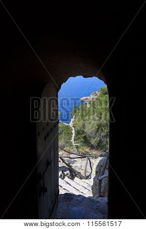 View through the gate of Torre des Verger in Majorca