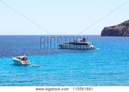 Yachts at anchor in Sant Elm Majorca Spain