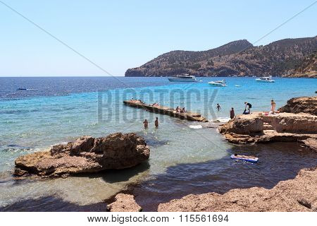 Bath rocks Sant Elm in Majorca Spain