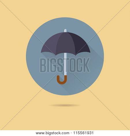 Umbrella icon, protection concept. Flat design vector icon of umbrella