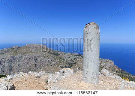 Mountain Puig De Galatzo Summit In Majorca Tramuntana With Mediterranean Sea