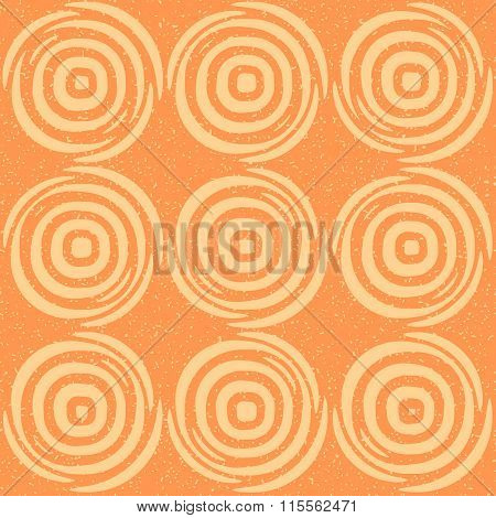 Vector Seamless Hand Drawn Geometric Lines Circular Round Tiles Retro Grungy Orange Tan Color Patter