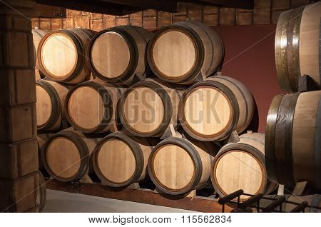 Wooden Barrels In The Cellar