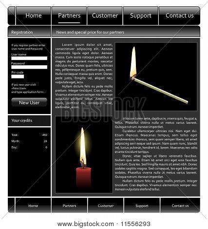 Illustration Black Web Site Template Skin