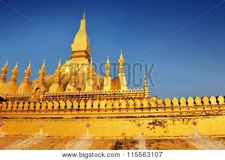 The Famous Golden Stupa Of Phra That Luang In Vientiane, Lao Pdr