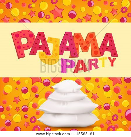 Pajama Party Template Card With Pillows