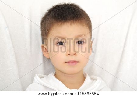 Caucasian Boy Portrait Direct Looking