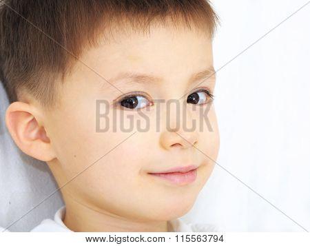 Caucasian Boy Portrait Smiling, Peripheral Vision
