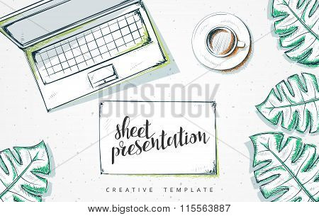 Template design concept sketch illustration