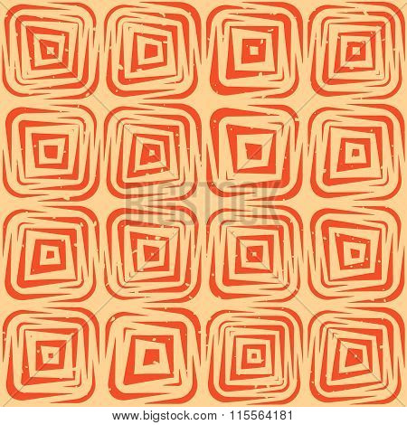 Vector Seamless Hand Drawn Geometric Lines Rounded Square Tiles Retro Grungy Orange Tan Pattern