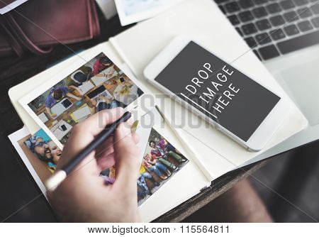 Photos Planning Digital Device Online Messaging Concept