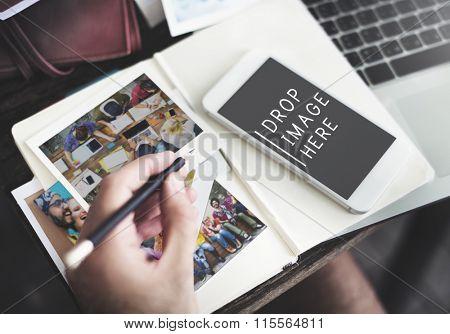 Photos Planning Digital Device Online Messaging Concept