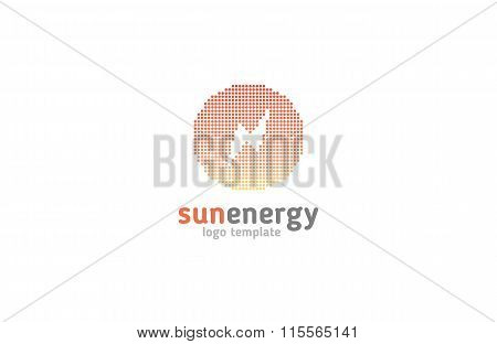 Solar energy logo design concept. Creative sign template.