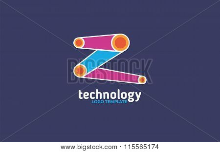 Technology abstract dot connection cross vector logo icon