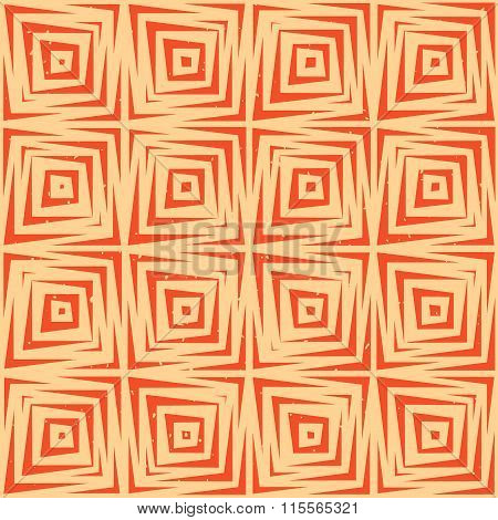 Vector Seamless Hand Drawn Geometric Lines Square Tiles Retro Grungy Orange Tan Pattern