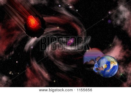 Stock Image Of Humorous Space Asteroid Scene