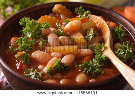 Bean Soup With Tomatoes And Celery Macro. Horizontal