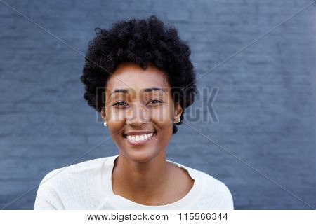 Beautiful Young African Woman Looking Happy