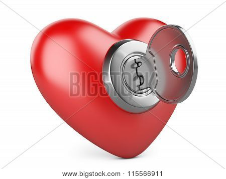 Red Heart With A Keyhole And Key.
