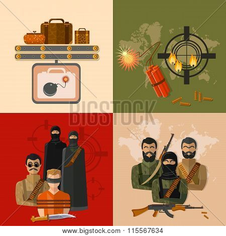 Terrorism Concept Taking Hostages Global Threat World Terror Group Terrorists Vector Set