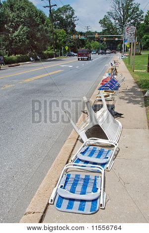 Seats prepared for a 4th July Independence celebration parade