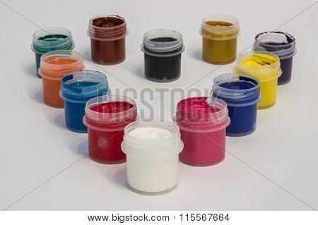 Set of gouache paints with love