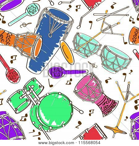 Hand drawn musical seamless pattern of colorful drum set